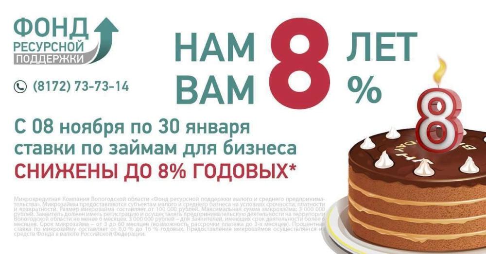 Вологодский Фонд ресурсной поддержки в честь дня рождения «режет» ставки по займам